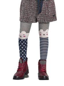 Modro-sivé dievčenské pančuchy s motívom mačiek Penti Kitten