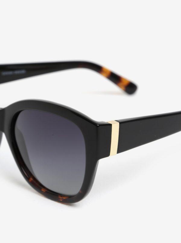 Čierne dámske slnečné okuliare s pozlátenými detailmi Pilgrim Edita