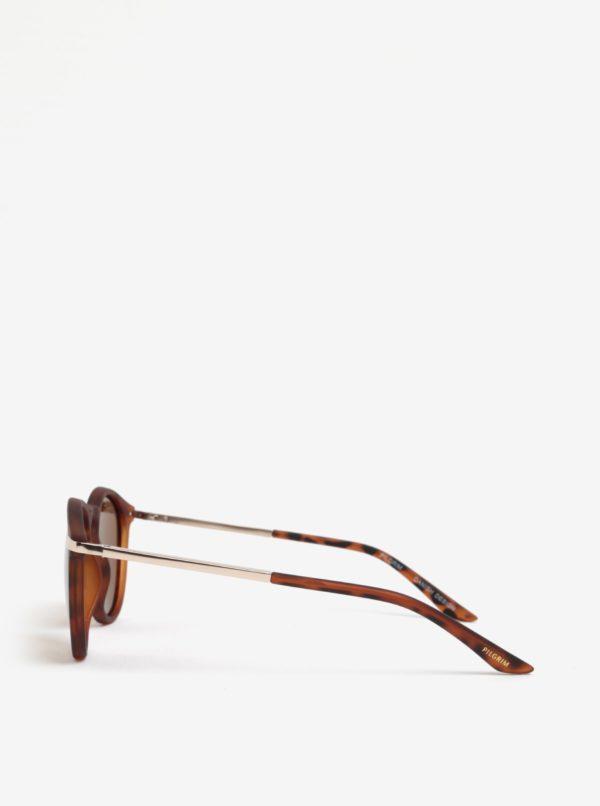 Hnedé dámske vzorované slnečné okuliare s pozlátenými detailmi Pilgrim Ellie