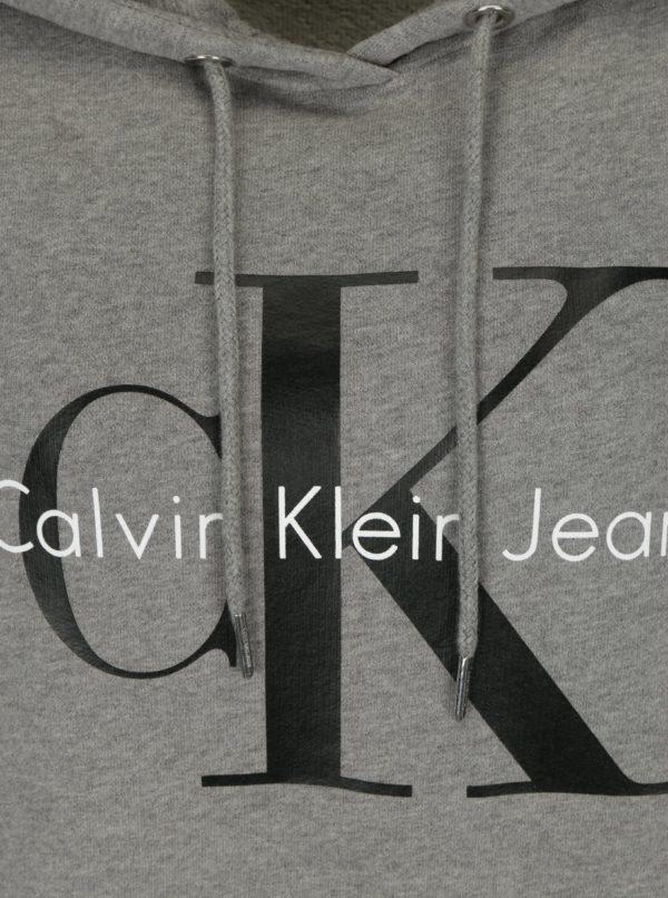 Sivá dámska mikina s kapucňou a potlačou Calvin Klein Jeans