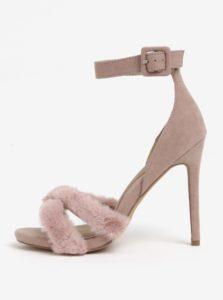Svetloružové sandáliky s umelou kožušinou MISSGUIDED