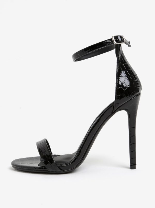 Čierne sandále s hadím vzorom MISSGUIDED