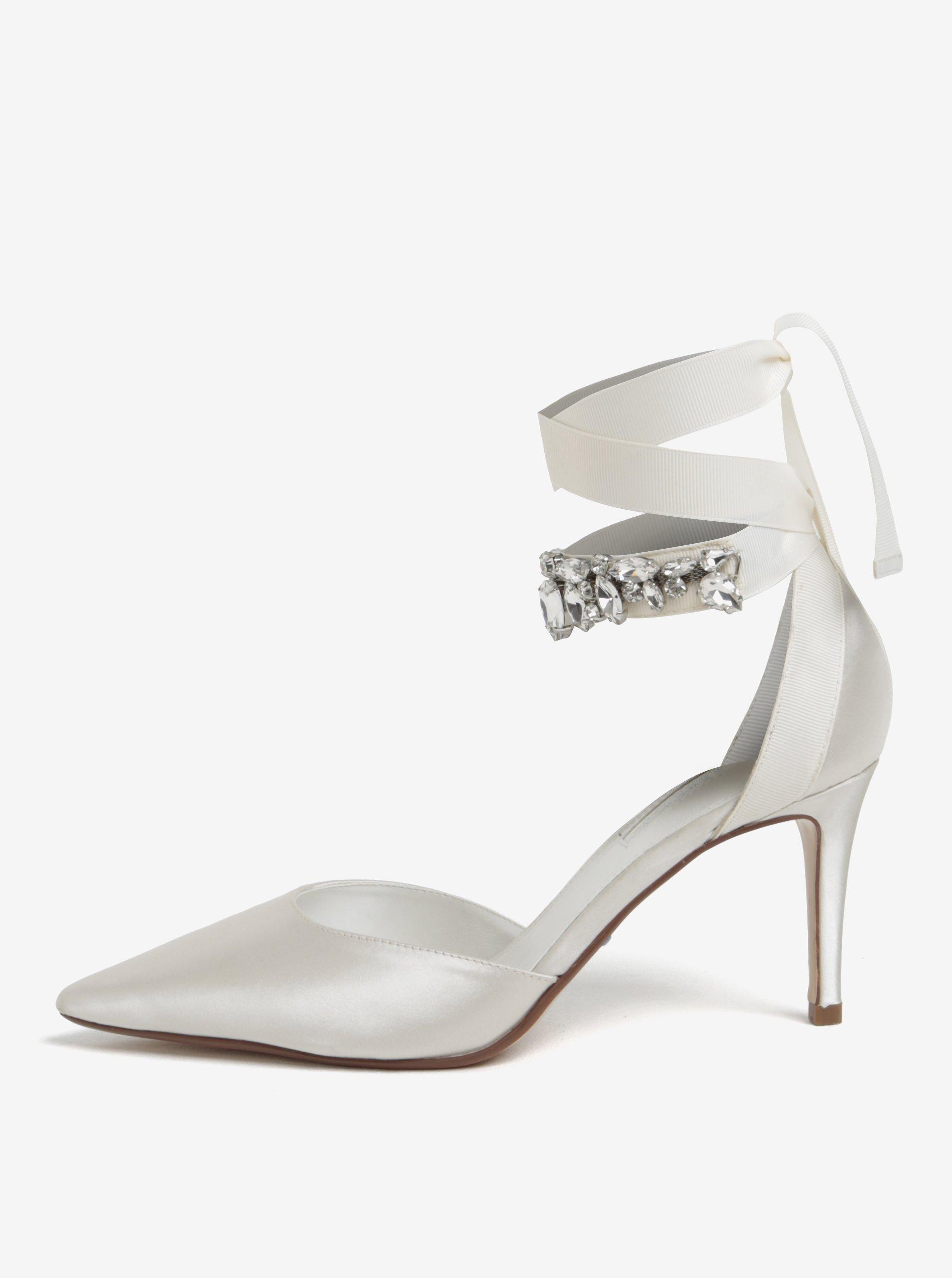 44f32742072c8 Krémové saténové sandálky so stuhou okolo členka Dune London Diamond ...