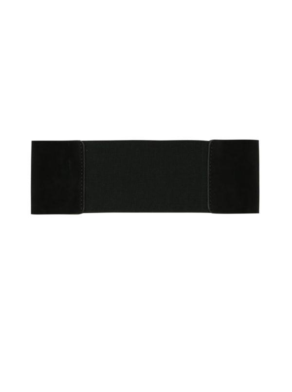 Čierny široký opasok v semišovej úprave Pieces Monia