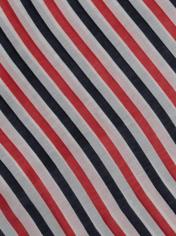 Červeno–modrá pruhovaná tunelová šatka Pieces Strila