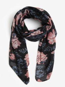 Modro–čierna kvetovaná šatka Pieces Inata