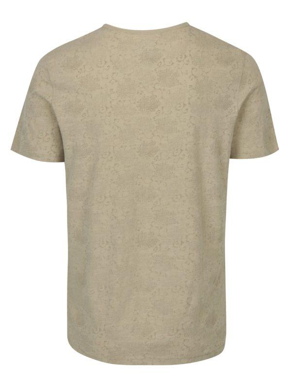 Béžové vzorované tričko s krátkym rukávom Jack & Jones Vincer