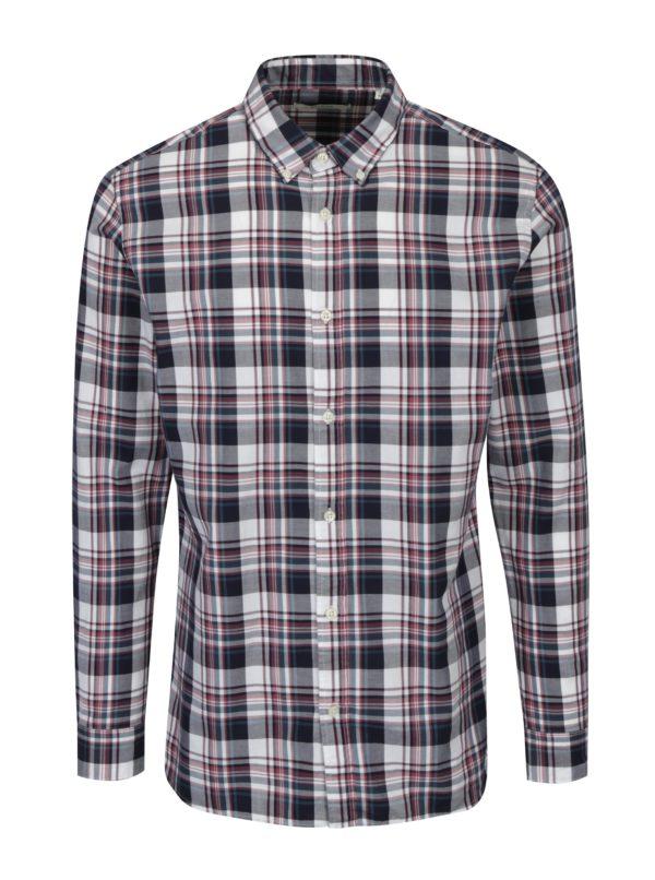 Vínovo-krémová slim fit károvaná košeľa Jack & Jones Premium Lawrence