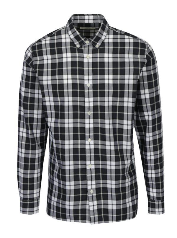 Modro-krémová slim fit károvaná košeľa Jack & Jones Premium Lawrence