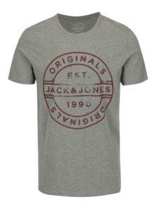 Sivé melírované tričko s potlačou Jack & Jones Slack