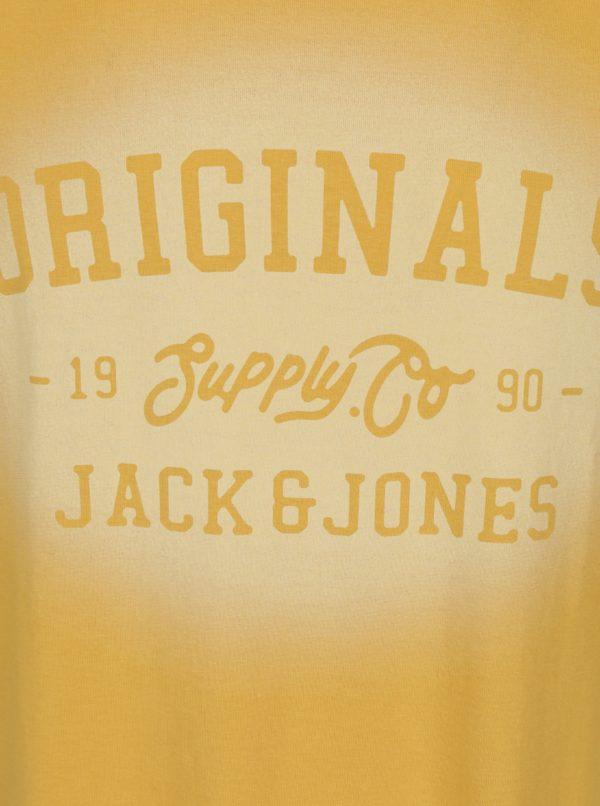 Horčicové tričko s potlačou Jack & Jones Stencild