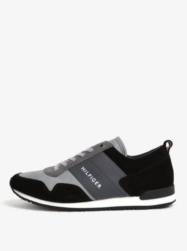Čierno-sivé pánske kožené tenisky Tommy Hilfiger