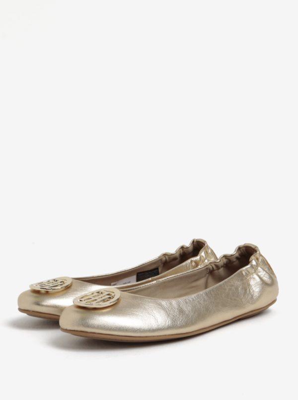 Dámske kožené baleríny v zlatej farbe Tommy Hilfiger