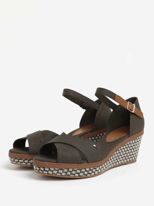 Kaki sandále na klinovom podpätku Tommy Hilfiger