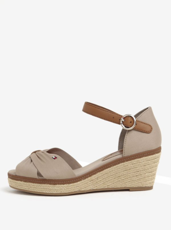 Béžové sandále na klinovom podpätku Tommy Hilfiger