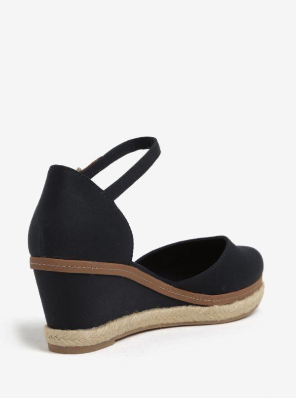 Tmavomodré sandále na plnom podpätku Tommy Hilfiger