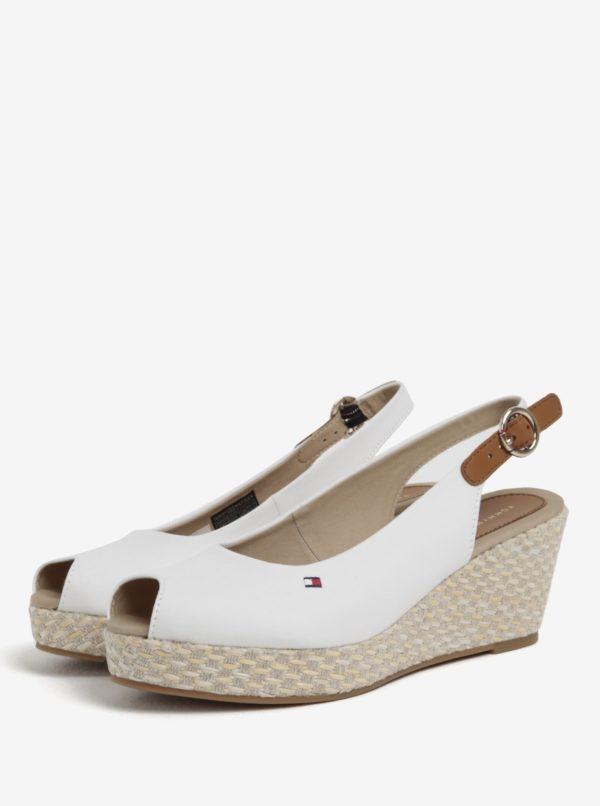 Biele dámske sandále na plnom podpätku Tommy Hilfiger