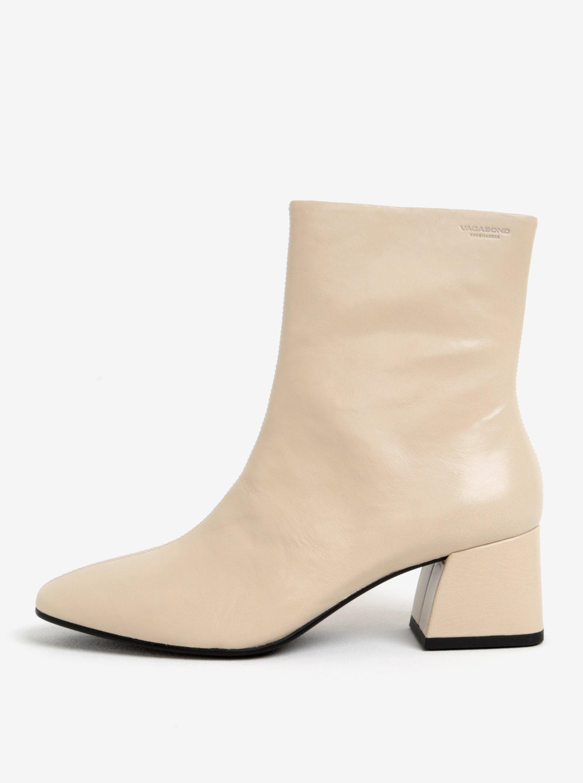 Krémové kožené členkové topánky na podpätku Vagabond Alice  b49d30ae84