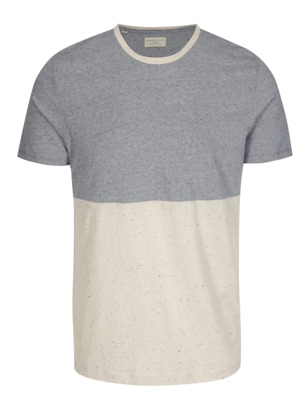 Béžovo-modré melírované tričko Selected Homme Tim