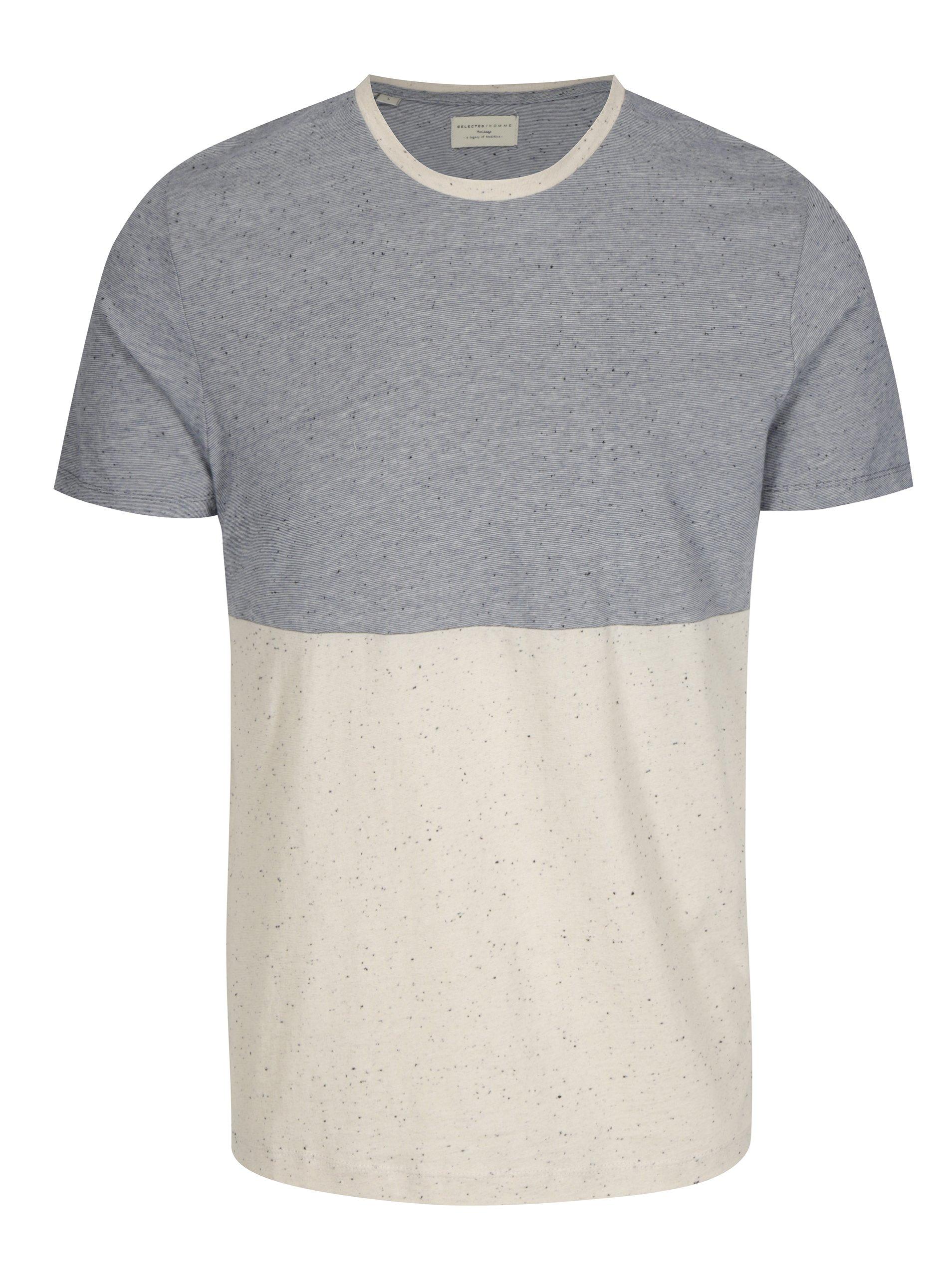 bfc0334d98f2 Béžovo-modré melírované tričko Selected Homme Tim