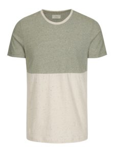 Béžovo-zelené melírované tričko Selected Homme Tim