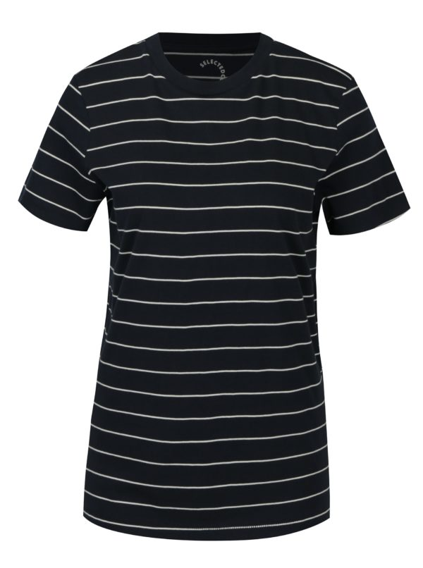 Tmavomodré pruhované basic tričko Selected Femme MyPerfect