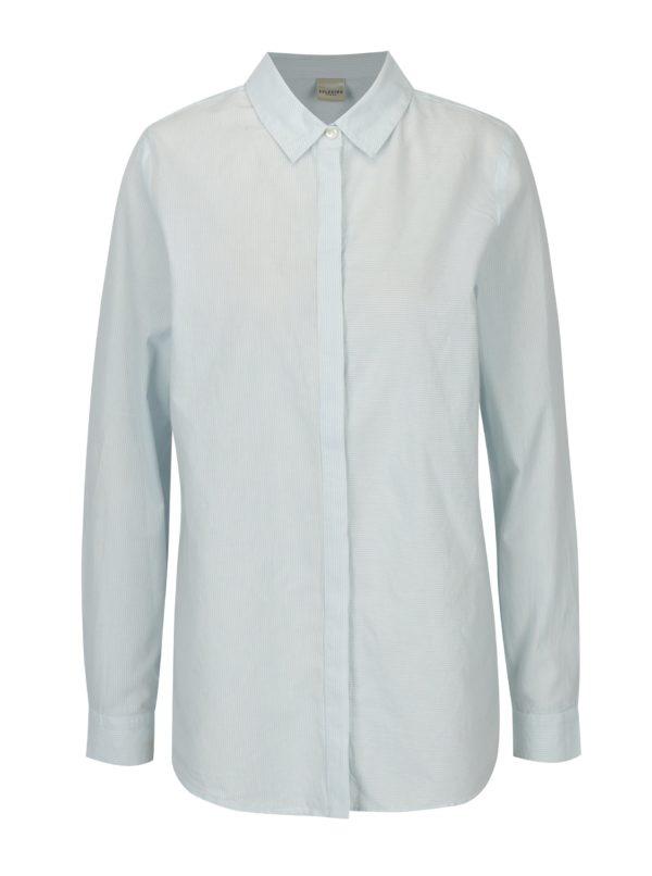 Krémovo-modrá pruhovaná košeľa Selected Femme Noella