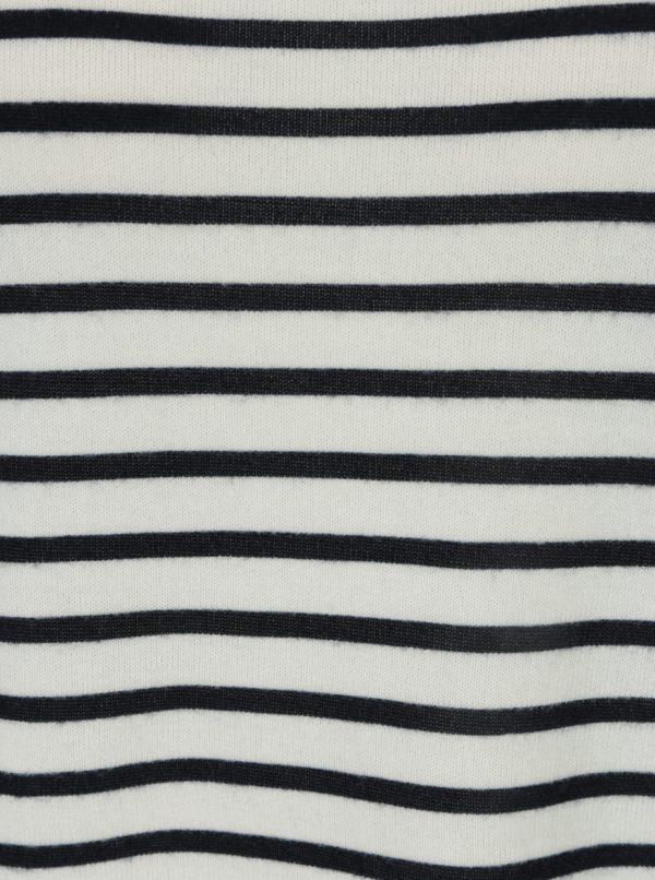 Modro-krémové pruhované oversize tričko s 3/4 rukávom ONLY Elcos