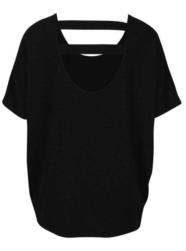 Čierne oversize tričko s elastickými pásmi na chrbte ONLY Moster