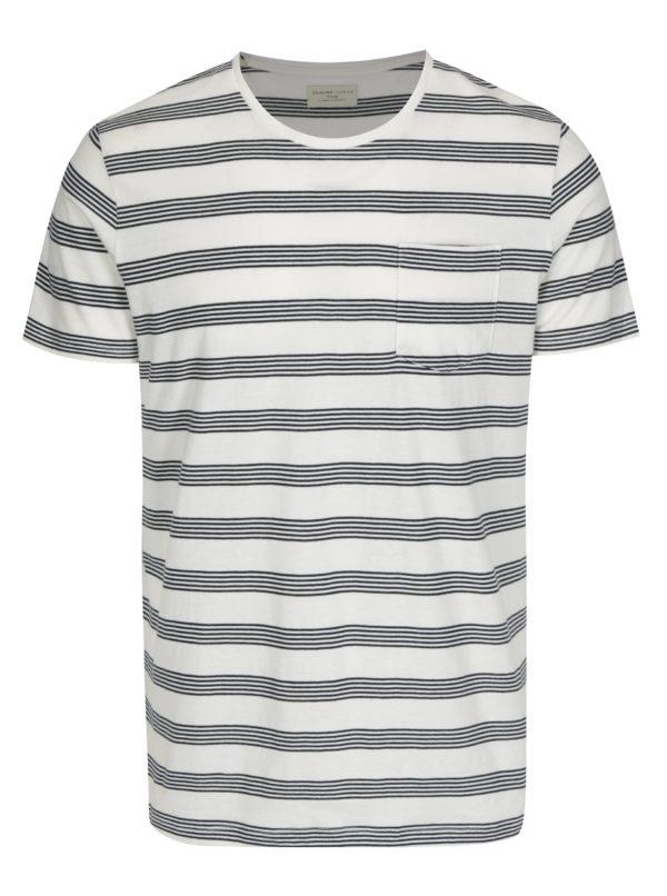 Čierno-béžové pruhované tričko s vreckom Selected Homme Theo
