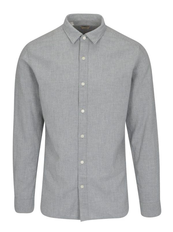Svetlosivá bodkovaná slim fit košeľa Selected Homme One Tyler