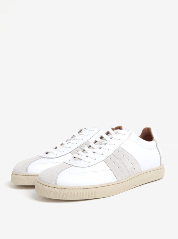 Biele pánske kožené tenisky Selected Homme Duran