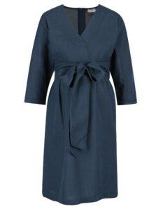 Tmavomodré tehotenské šaty s opaskom Mama.licious Vintage