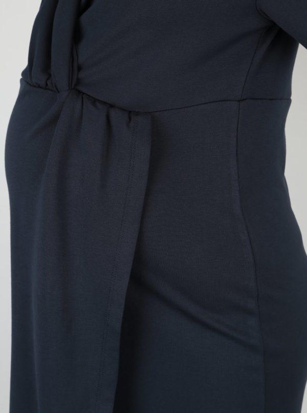 Tmavomodré tehotenské šaty s prekladaným výstrihom Mama.licious Suri