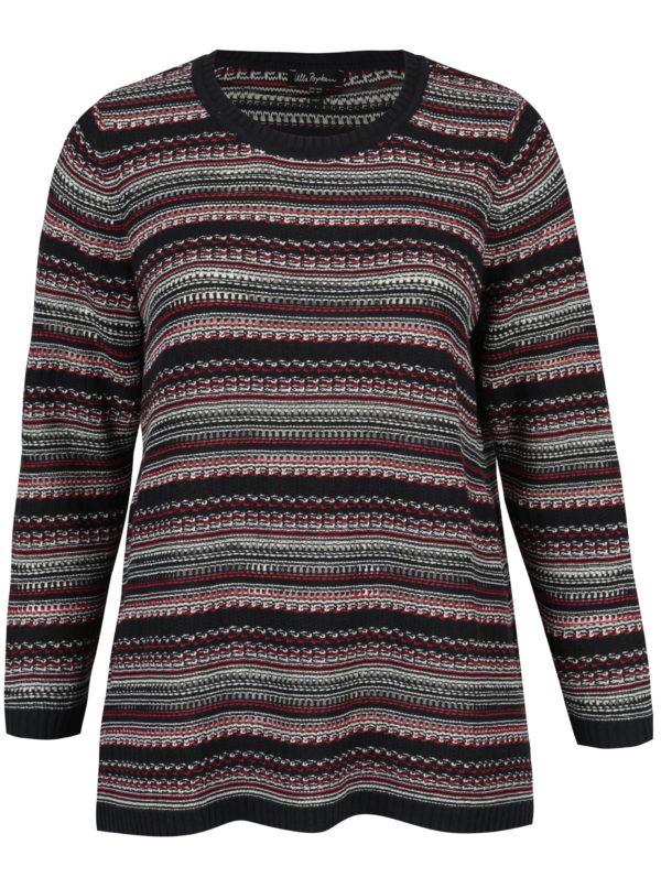 Tmavomodrý pruhovaný sveter Ulla Popken