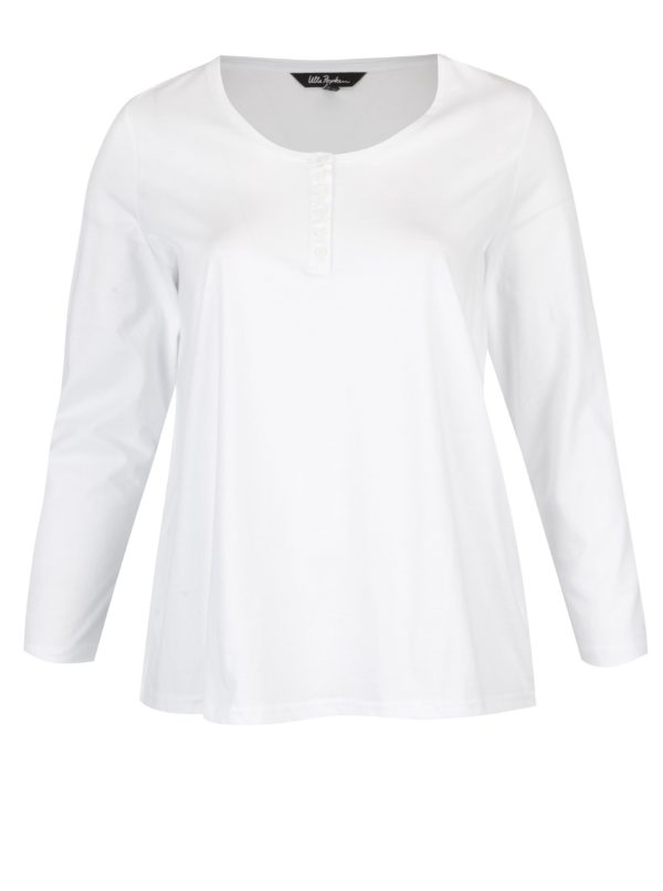 Biele tričko s dlhým rukávom a gombíkmi Ulla Popken