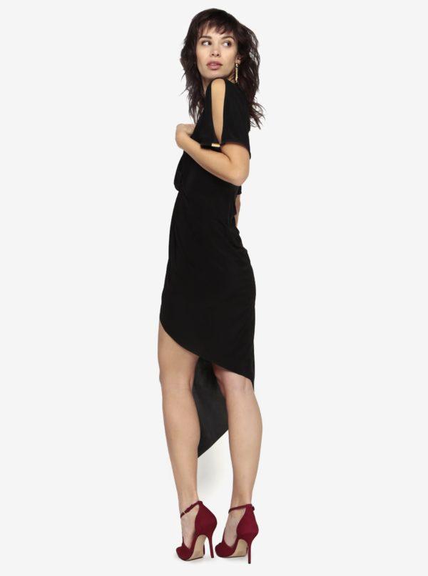 Čierne asymetrické šaty s krátkym rukávom Miss Selfridge  9dee9c9103