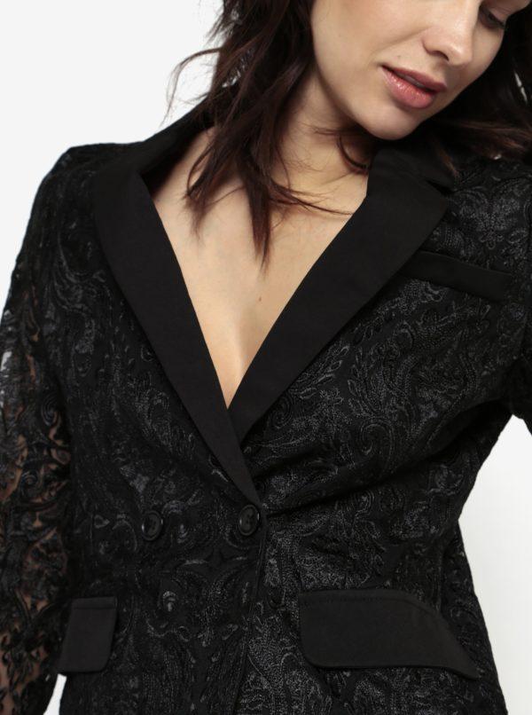 Čierne čipkované sako s priesvitnými rukávmi MISSGUIDED