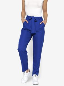 Modré nohavice so zaväzovaním v páse MISSGUIDED