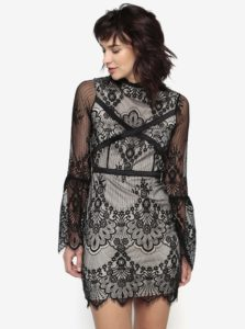 Čierno-béžové čipkované šaty MISSGUIDED