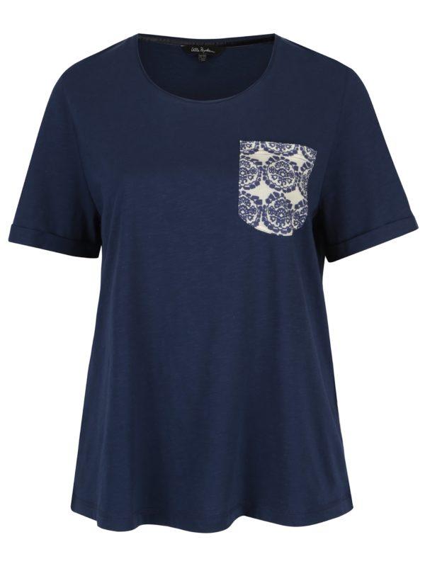 Modré regular tričko s vreckom Ulla Popken