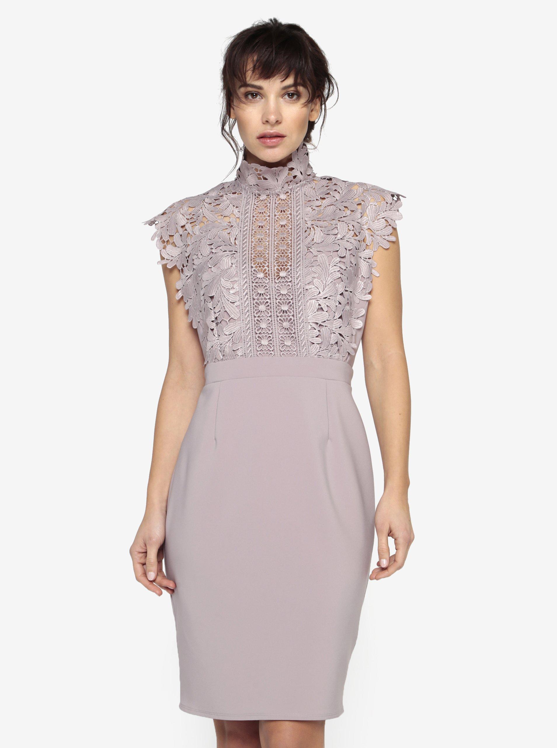 a256bc11aeb7 Staroružové šaty s čipkovaným topom a stojáčikom Little Mistress ...