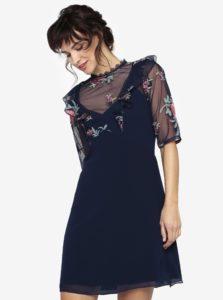 Tmavomodré šaty s priesvitným sedlom a volánmi Little Mistress