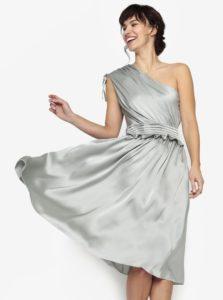 Svetlozelené asymetrické šaty s volánom Little Mistress