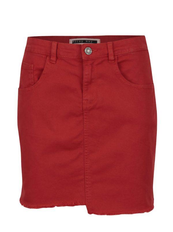 Červená rifľová sukňa Noisy May Nicole