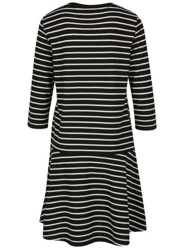 Modro-krémové pruhované šaty s 3/4 rukávom VERO MODA Nira