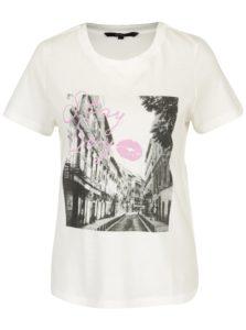 Krémové tričko s potlačou VERO MODA Nelik