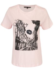 Svetloružové tričko s potlačou VERO MODA Nelik