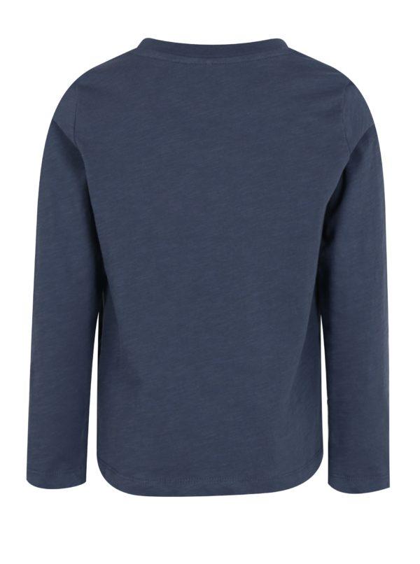 Tmavomodré chlapčenské tričko s potlačou a dlhým rukávom name it Jejur