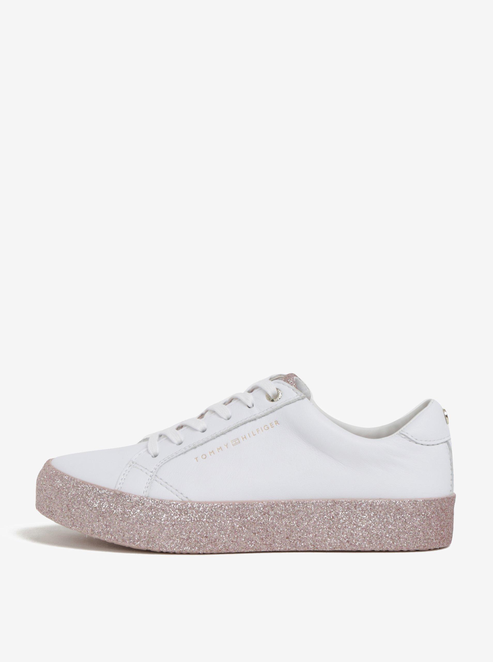 148c2050a1264 Biele dámske kožené tenisky na trblietavej platforme Tommy Hilfiger ...
